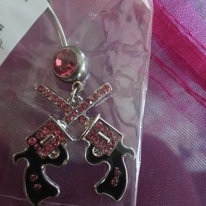 Pink gun belly ring